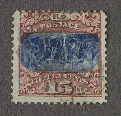 United States: 1869 15 cents blue and  brown, error centre inverted, used.